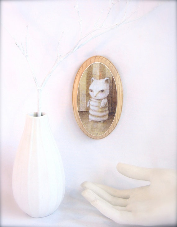 Chouette Cheveche print mounted on wood by MargaretMeyer on Etsy, $25.00