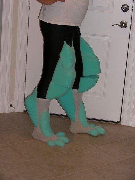 Legs - amazing construction of wolf costume - full tutorial. Excellent tips for what glues to use for foam & latex.: