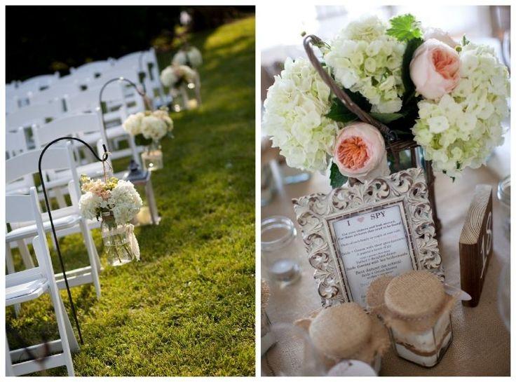 weiße Hortensien und rosa Pfingstrosen - Vintage Hochzeitsdeko