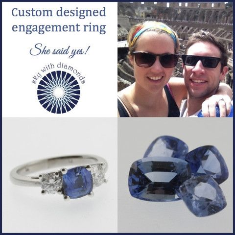 A cushion cut sapphire and diamond engagement ring: she said yes! - Sky with Diamonds