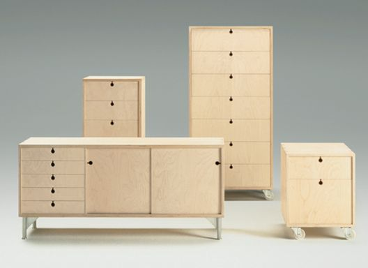 Jasper Morrison. Universal System Storage system in plywood with cast aluminium feet or wheels.