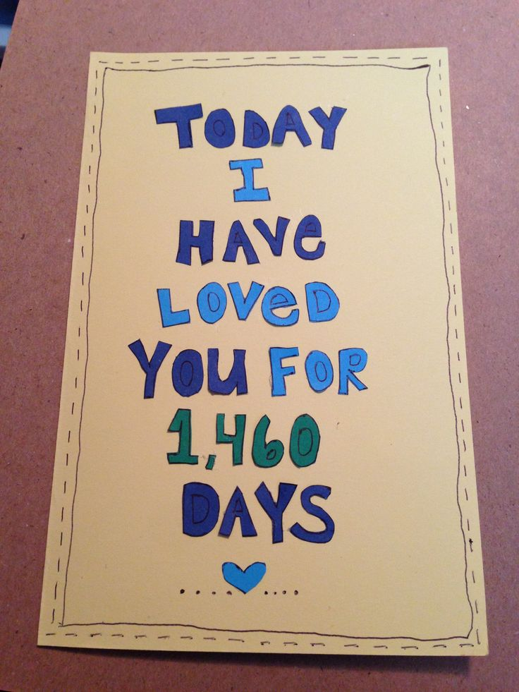 The card I made for my boyfriend on our 4 year anniversary. :)