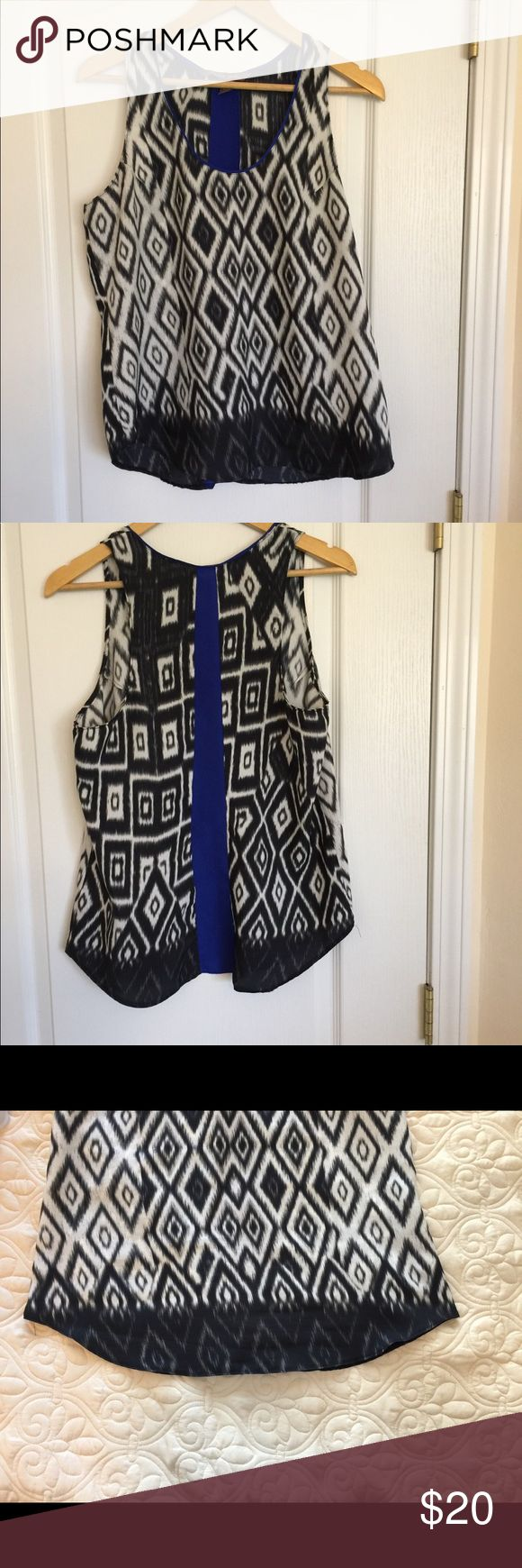 Black, White, and Blue Charlie Jade Ikat Tank Top This is a cute black and white ikat tank top from Charlie Jade. EUC. It has blue trim around the neck and a blue stripe straight down the back. It's looks great layered over another tank with jeans.   Bust - 19.5 in Length - about 26 in Smoke free home Pet friendly (1 dog) home Charlie Jade Tops Tank Tops