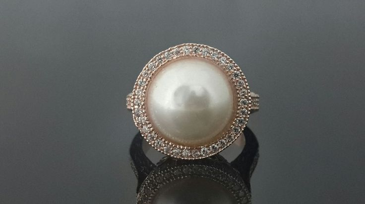 9ct Rose gold pearl and AAAAA grade cubic zirconia statement ring by IsaBellaJewellery on Etsy