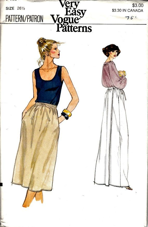 1970's Back Wrap Skirt Pattern In Two Lengths  by ShellMakeYouFlip