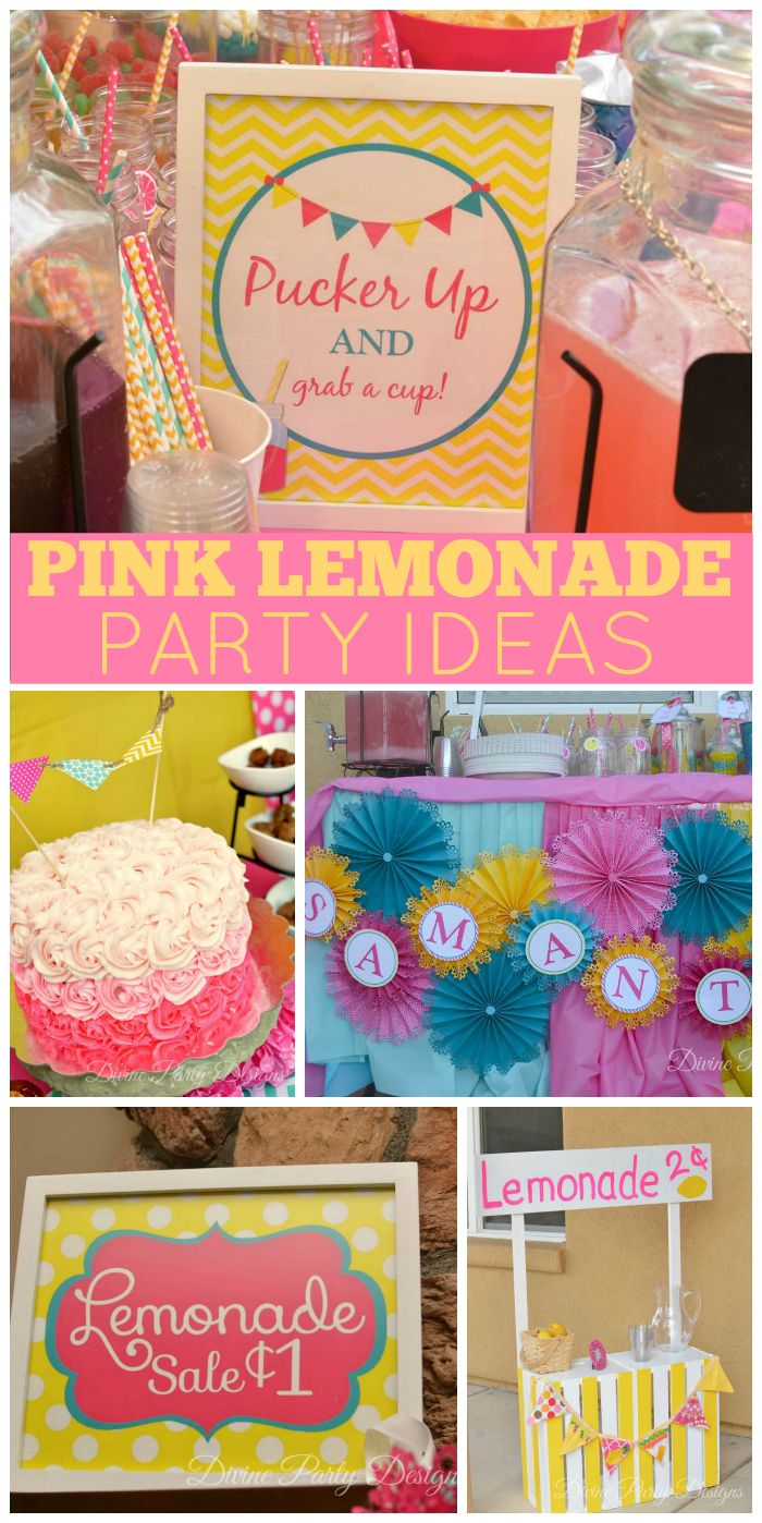 A pink lemonade birthday party with pops of aqua and a real lemonade stand! See more party planning ideas at CatchMyParty.com!