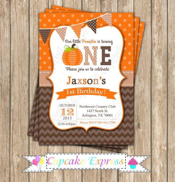 Pumpkin Patch One First Birthday Boy Invitation Orange By