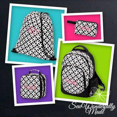 Monogrammed Backpack - Lunch Box - Wristlet
