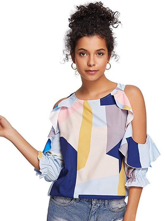 dc7c5023e17 Milumia Women s Tropical Floral Print Open Shoulder Frill Trim Blouse Tops  at Amazon Women s Clothing store