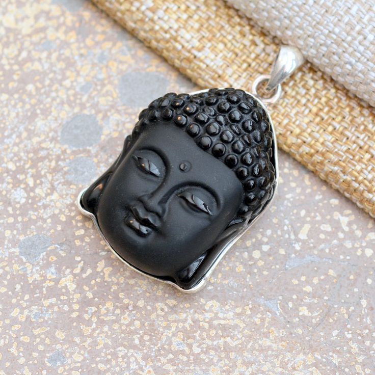 Large Serene Carved Black Onyx Zen Buddha Silver Pendant, Buddha Head, High Quality Silver Setting, Yoga Gifts, Gifts for Yogis KP17-1018A by WanderlustWorldArts on Etsy