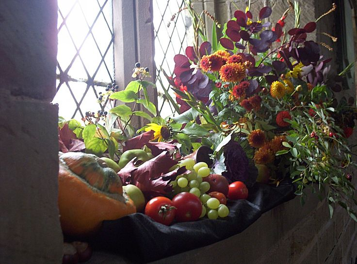 harvest festival a lovely arrangement in a church window