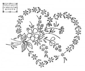 heart with flowers embroidery pattern