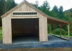 14' x 20' Garage. Optional 8' x 20' overhang. Available as a kit (estimated assembly time - 2 people, 30 hours) or diy plans $39.95. #garages http://jamaicacottageshop.com/shop/one-bay-garage/ http://cdn.jamaicacottageshop.com/wp-content/uploads/pdfs/pdf14x20onebaygarage.pdf
