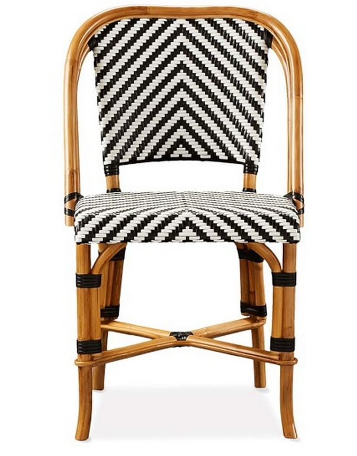 Black White And Rattan Chair Outdoor Living Bistro