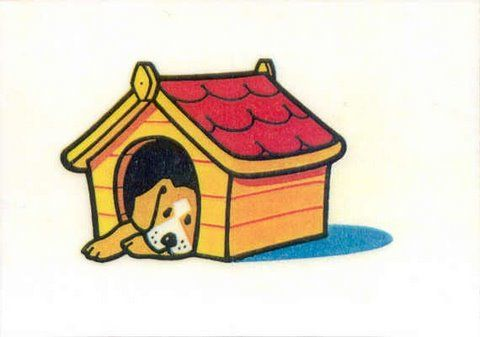 Prepositions. The dog is inside the kennel.
