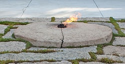 The Eternal Flame at the gravesite of President John F. Kennedy in Arlington National Cemetery.