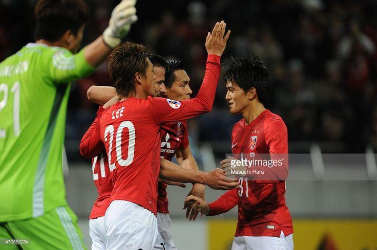 Zlatan Ljubijankic #21 (3R) celebrates the first goal during the AFC Champions League Group G match between Urawa Red Diamonds and Suwon Samsung FC at Saitama Stadium on April 21, 2015 in Saitama, Japan.
