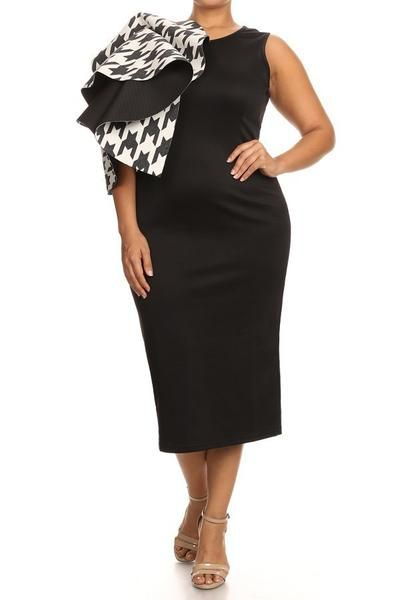 Plus Size Houndstooth Ruffled Shoulder Dress (plus size) #plussizefashion #dress