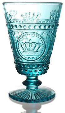 Louis Footed Glass - Turquoise transitional-cups-and-glassware