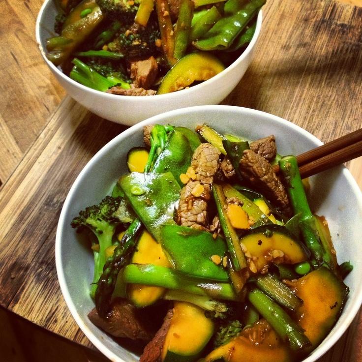 Celebrating the start of @biggestloser_au with @mishbridges @12wbt Hoisin Beef Stir-fry with Spring Veggies!