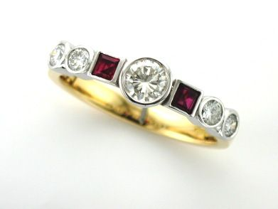 'FENELLA' --  Unusual Half Hoop Ring set with Brilliant Cut Diamonds & Square Cut Rubies  Custom made in 18ct Gold  Re Designed from Existing Sentimental Cluster.