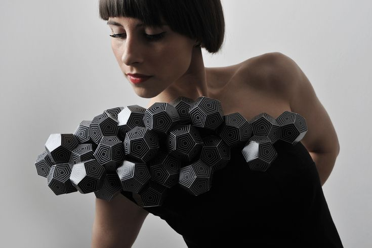 """The collection consists of five unique dresses handcrafted from a combination of textiles and paper. The main inspiration for the entire Collection is located in Platonic solids. Plato, the great Greek philosopher, studied what we now call """"Platonic solids"""". No one knows who first described the shapes of these bodies, perhaps early Pythagoreans, but some, including Euclid, say that it was a close friend of Plato's Theaetetus.: Fashion, Inspiration, Dresses, Art, Geometric, Design, Geometry"""