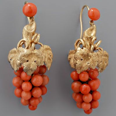 Antique Victorian Coral Drop Earrings