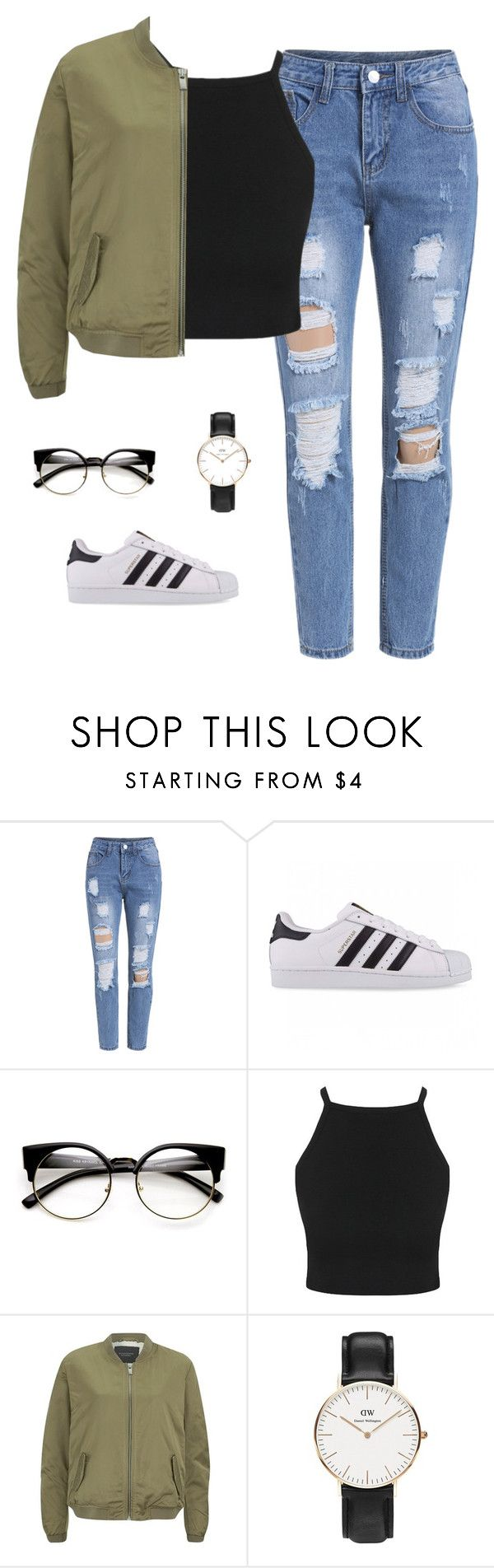 casual. by sabajghafoor ❤ liked on Polyvore featuring adidas Originals, Maison Scotch and Daniel Wellington
