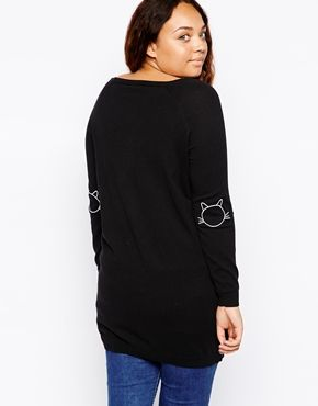 Enlarge ASOS CURVE Cardigan With Cat Elbow Patch