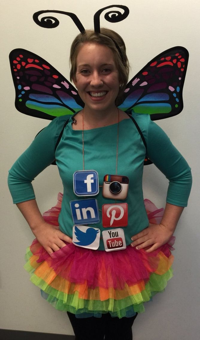 Social butterfly DIY costume Halloween 2014