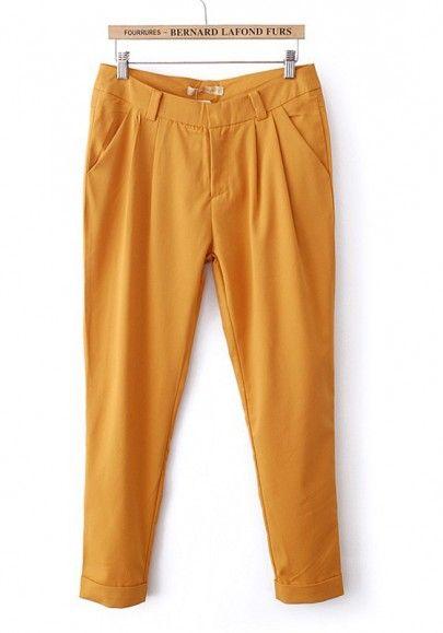 Yellow Plain Button Fly Zipper Spandex Pants
