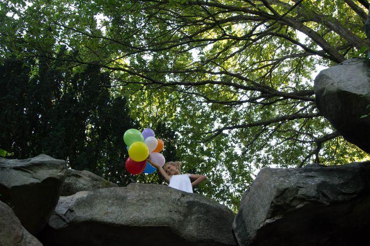 Girl with nine balloons. Birthday photography ideas.