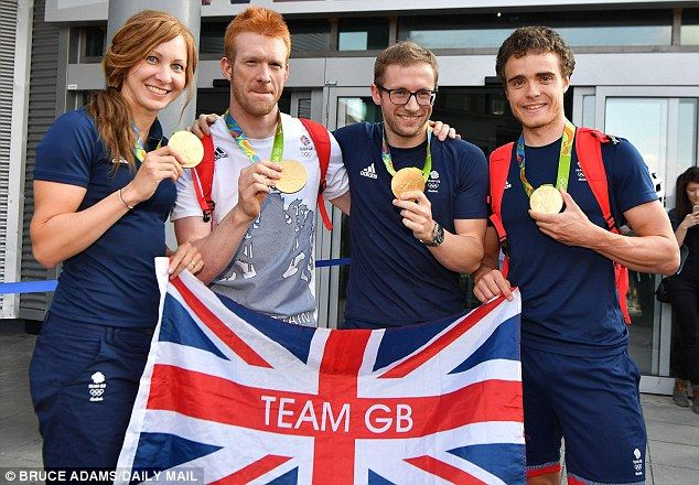 Some of the victorious Team GB cyclists with their medals.Downing Street sources said the main parade would be held in Manchester, home of Team GB¿s all-conquering cycling squad