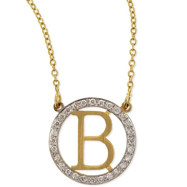 Kacey K Small Round Initial Pendant Necklace with Diamonds ($1,250) ❤ liked on Polyvore featuring jewelry, necklaces, g, diamond circle pendant necklace, initial necklace, round pendant, diamond initial pendant and diamond necklace