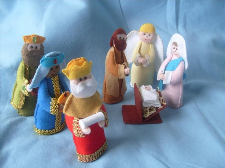 presépio de feltro: Holiday, Kerststalletjes, Christmas Crafts, Christmas Nativity, Nativity Crafts, Felt, Crafts
