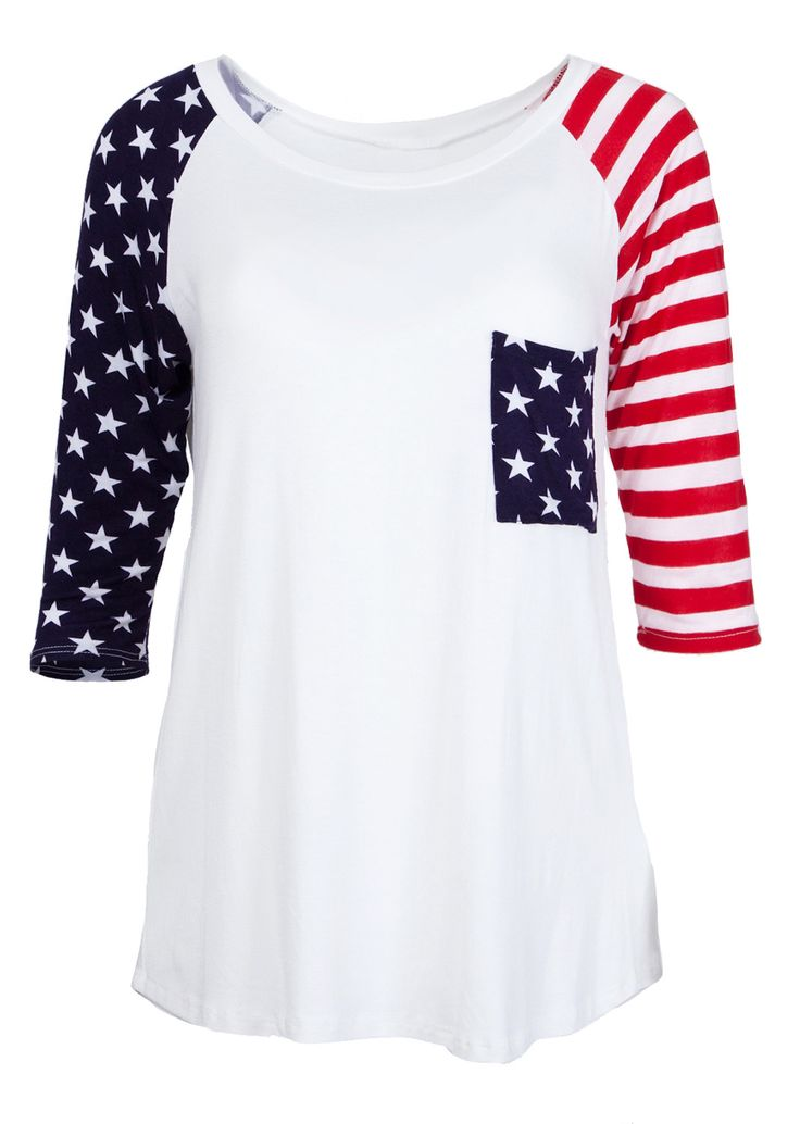 Ladies American Flag Print Three Quarter Sleeve Top #newarrivals #usa…