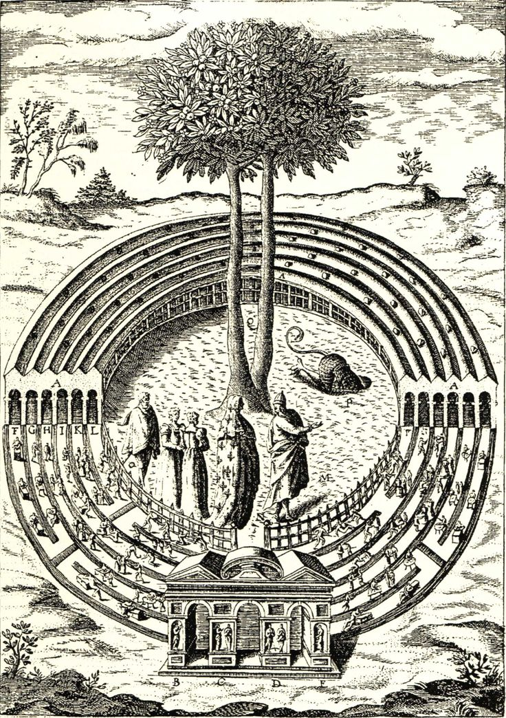 Detail of the 'Labyrinth of Avarice, :' an engraved illustration from Del Bene's 'Civitas Veri.'
