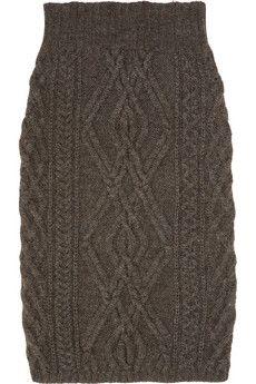 CHLOÉ Cable-knit merino wool-blend skirt