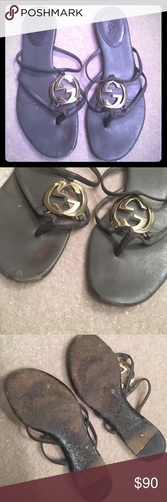 Gucci GG Grey Flip Flop Sandals - Women's Size 6 Authentic Gucci GG Grey / Gold Flip Flop Sandals - Women's Size 6 -- WORN please refer to photos; comes as is Gucci Shoes Sandals