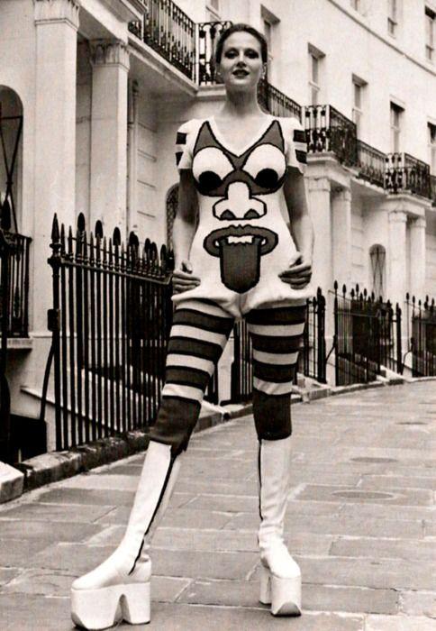 Famous wool jumpsuit by Japanese designer Kansai Yamamoto, 1971. Modeled by Caroline Coon.