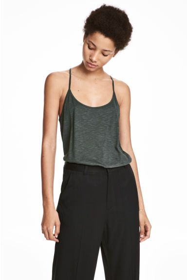 Tricot topje - Donkergroen - DAMES   H&M BE 1