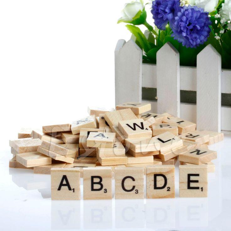 Hot 100 Del Alfabeto de Madera Scrabble Azulejos Negro Letras y Números Para La Artesanía De Madera
