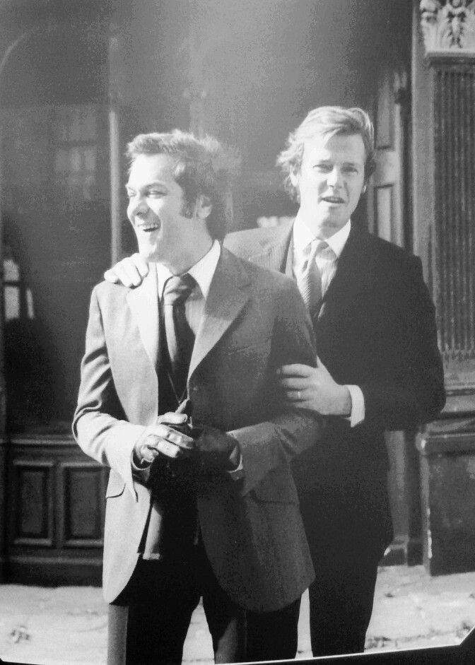 """Tony Curtis and Roger Moore on the set of """"The Persuaders"""", 1971"""