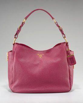 8d777ccbb973 Prada Vitello Daino Pebbled Calfskin Leather Hobo in Fuchsia or Brown   Pradahandbags