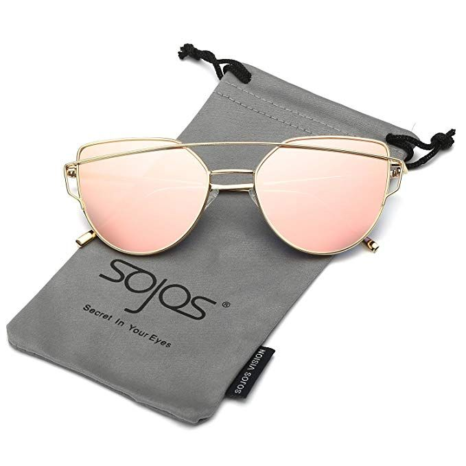 SOJOS Cat Eye Mirrored Flat Lenses Street Fashion Metal Frame Women Sunglasses