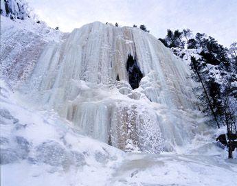 Korouoma National Park frozen waterfalls.
