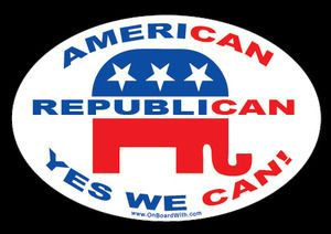 """AMERICAN, REPUBLICAN, YES WE CAN!"" 4x6 Inch Political Bumper Sticker - OnBoardWith.com"