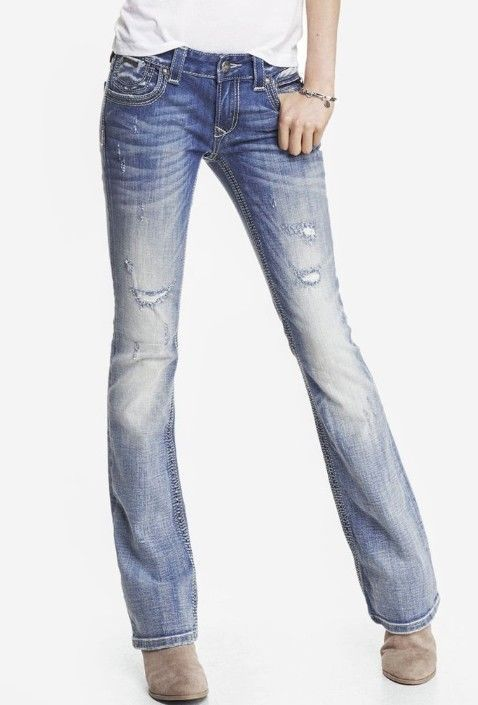 c59ddb21ad9 Women s ReRock for Express Low Thick-Stitch Skinny-Fit Barely Boot-Cut Jeans  2