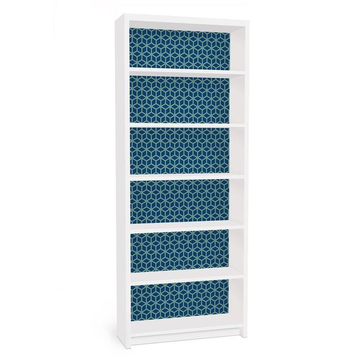 Möbelfolie Für IKEA Billy Regal   Klebefolie Würfelmuster Blau In Möbel U0026u2026