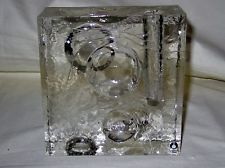 PUKEBERG GLASS SWEDEN MODERNIST HEAVY BUD VASE - CLEAR WITH CRATERS